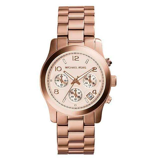 Michael Kors Runway Chronograph Rose Gold Dial 38mm Ladies Watch Mk5128 By Watch Centre.