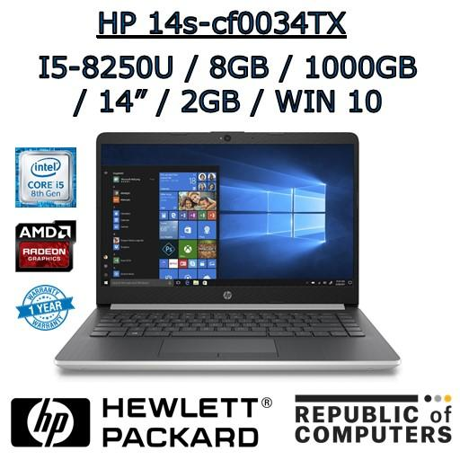 HP 14s-cf0034TX/HP 14s-cf0035TX I5-8250U / 8GB / 1TB HDD / RADEON 2GB / 14 / DVD-RW / WINDOW 10