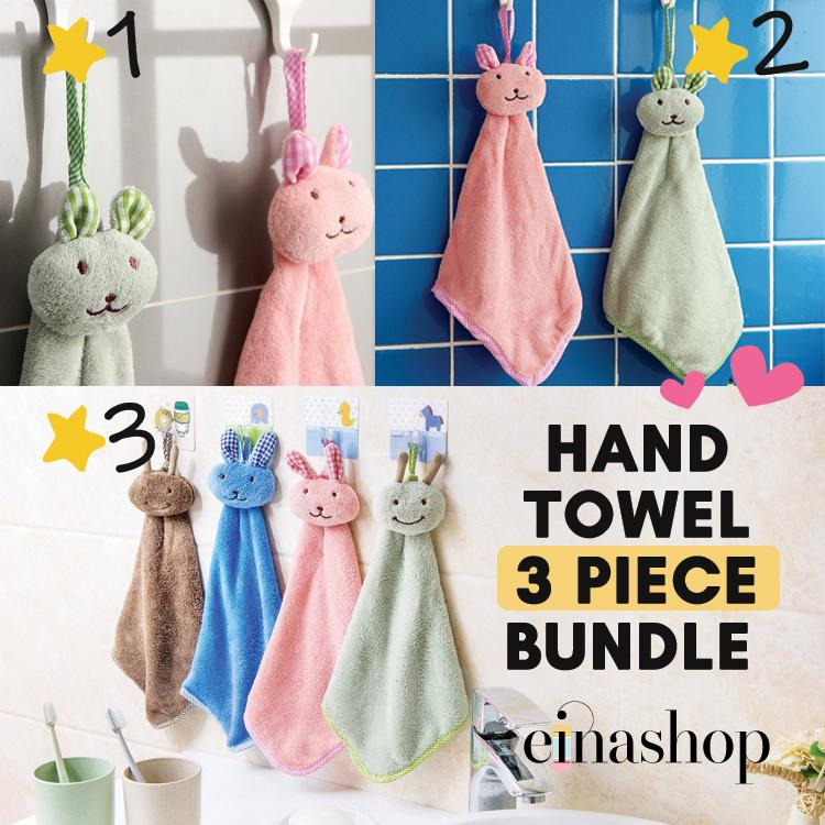 3 Pieces Rabbit Coral Fleece Hand Towel Premium Selection Einashop By Einashop.