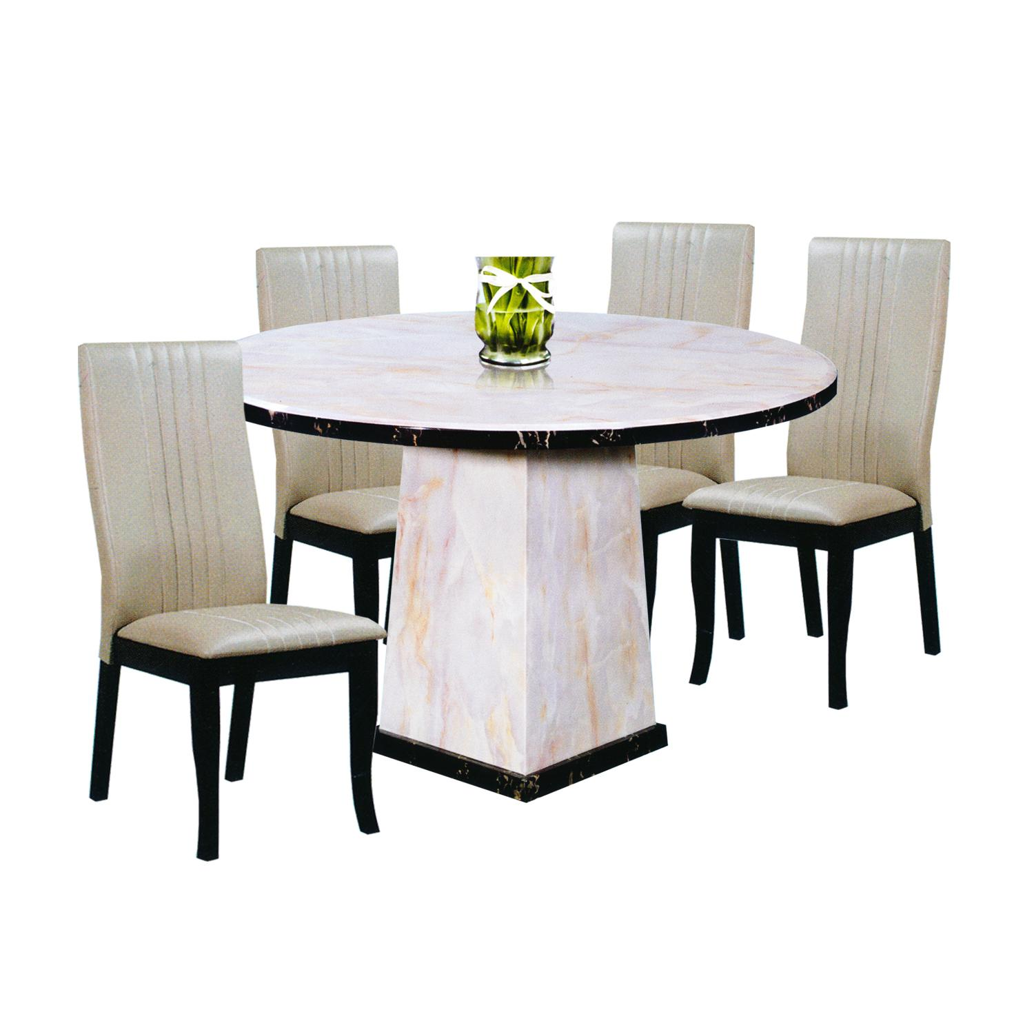 VIJAYA / GORDAN Marble Top 1+4 Dining Set