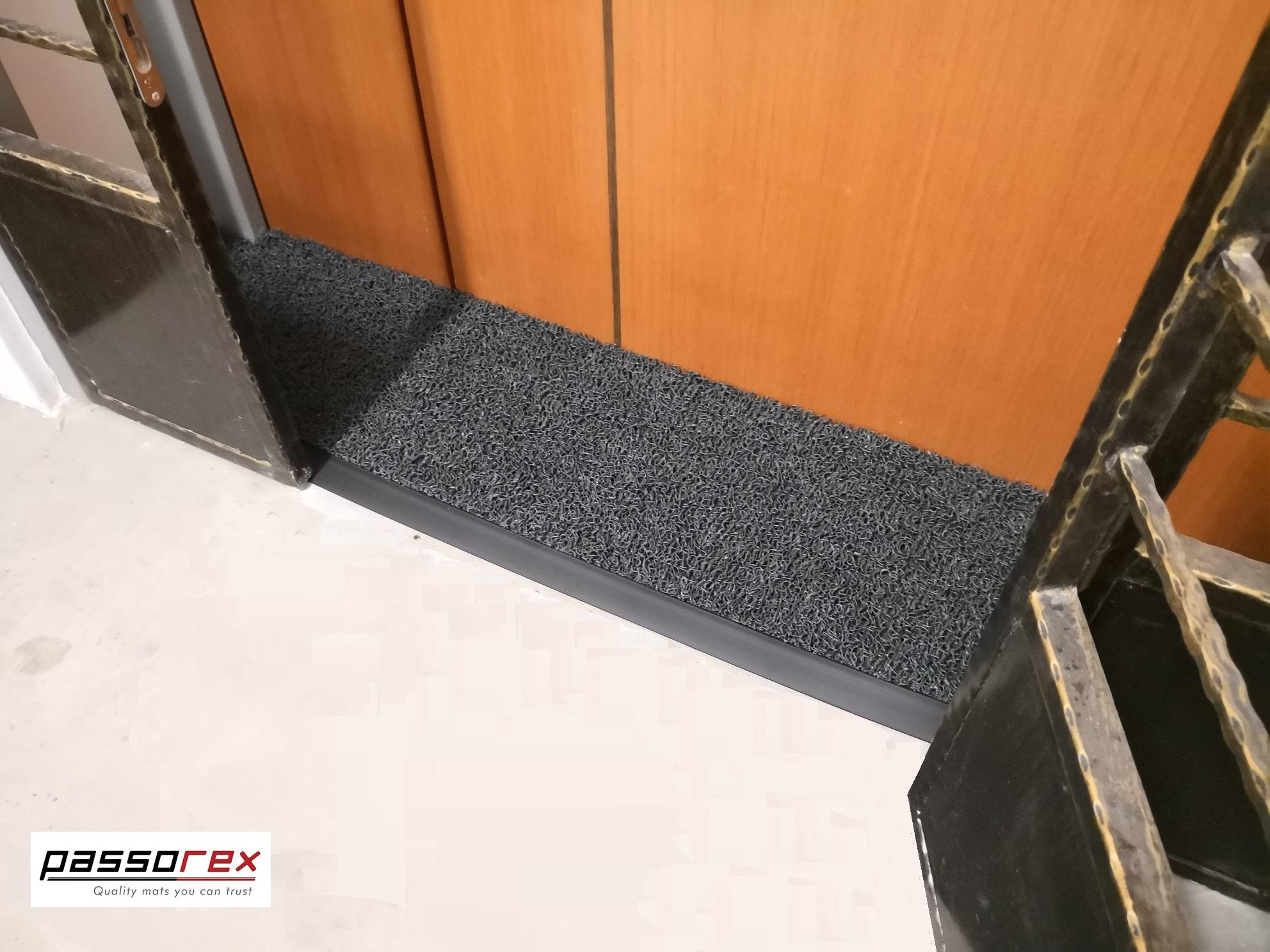 Passorex BTO HDB Door Gap Floor Mat   L120cm x 29cm @ L125cm x 27cm   Mat thickness T16mm+/-   Dark Grey