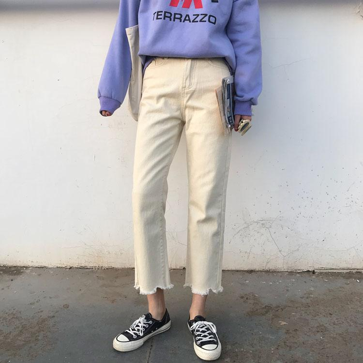 Wide-Leg Straight Capri Jeans Children Students Loose Bf Harajuku Wind Korean Style Ulzzang Versatile Fashion Chic By Taobao Collection.