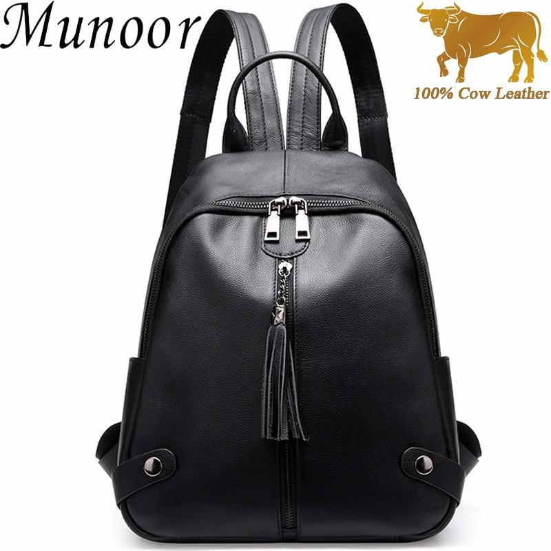 Sale Munoor High Quality 100 Genuine Cow Leather Women Backpack Casual Shoulder Bag Travel Holder Munoor Cheap