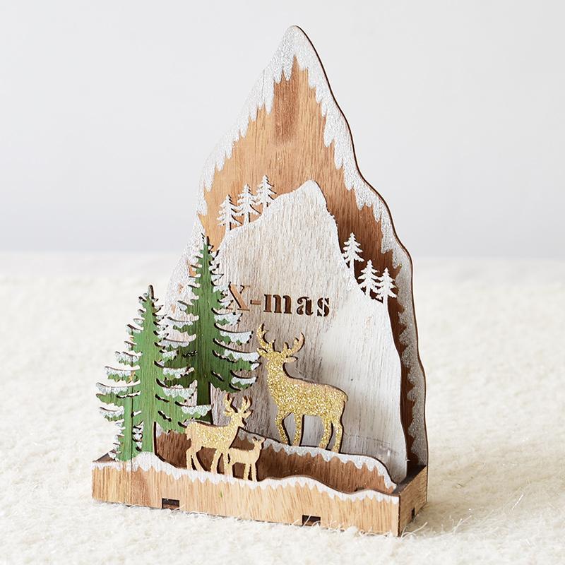 Happy. Northern Europe Wood Santa Claus Elk Christmas Tree Decorative Lamp Desktop Ornaments Christmas Ornaments