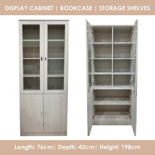 A-STAR Display Cabinet / Bookcase / Storage shelves in Maple White
