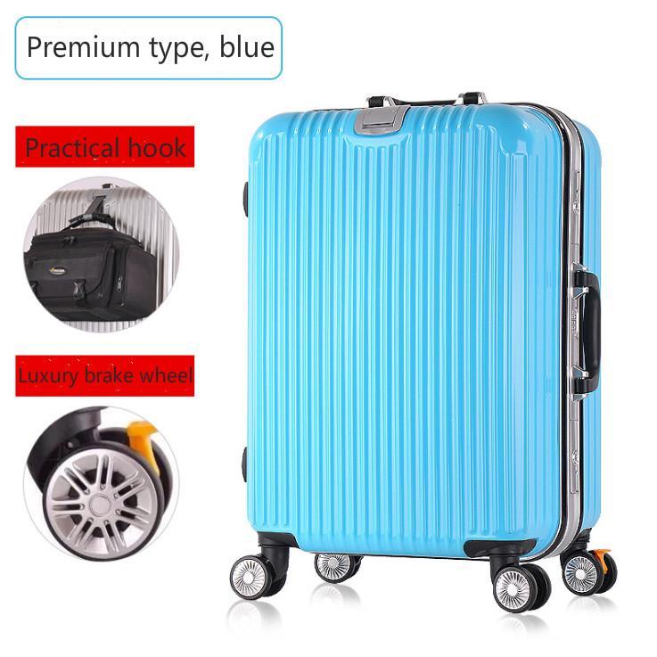 Trolley universal wheel 20 inch aluminum frame suitcase men and women suitcase retro boarding-intl