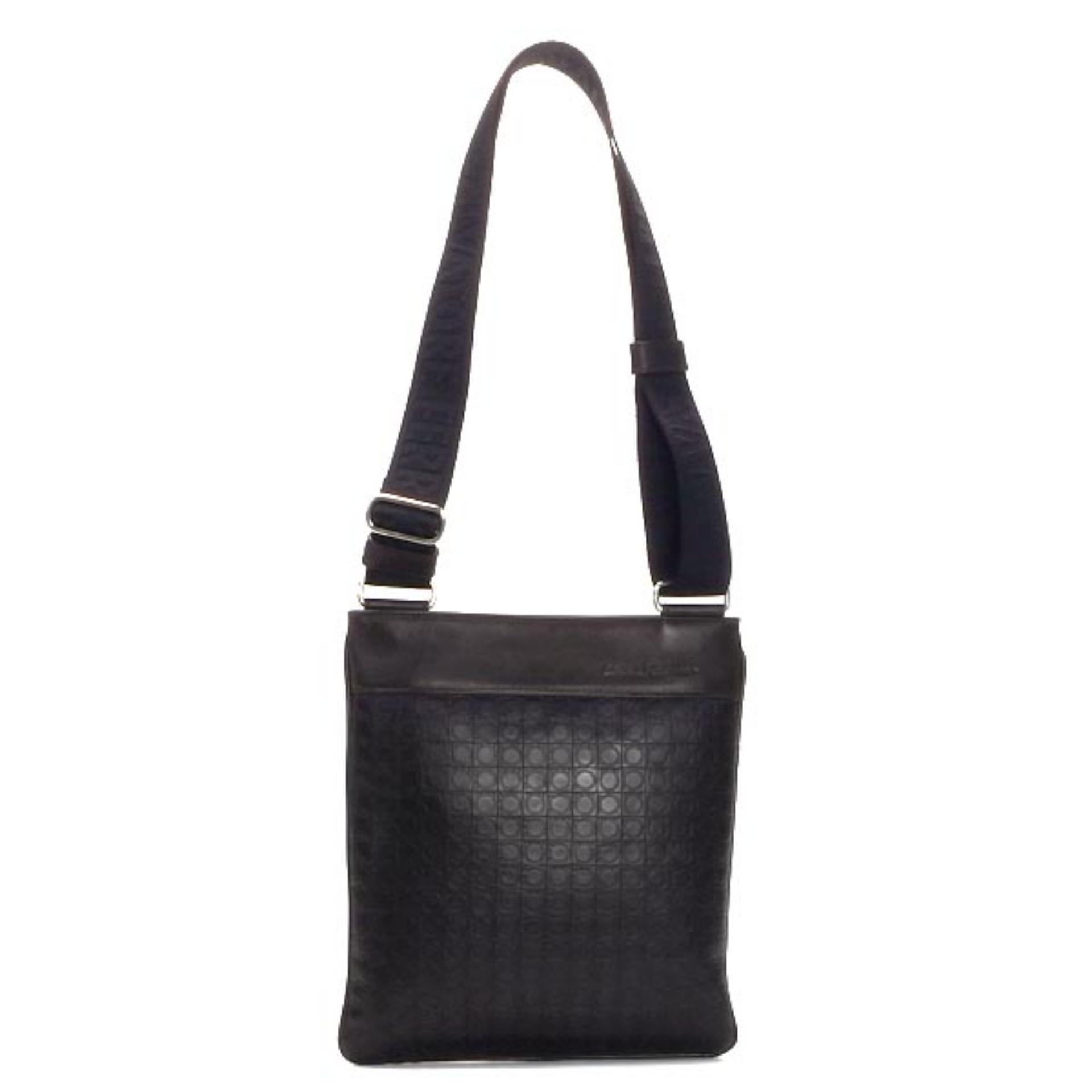 Salvatore Ferragamo Gancio Flat Crossbody Bag (Caffe)   249420533858 bf6aed648a0e9
