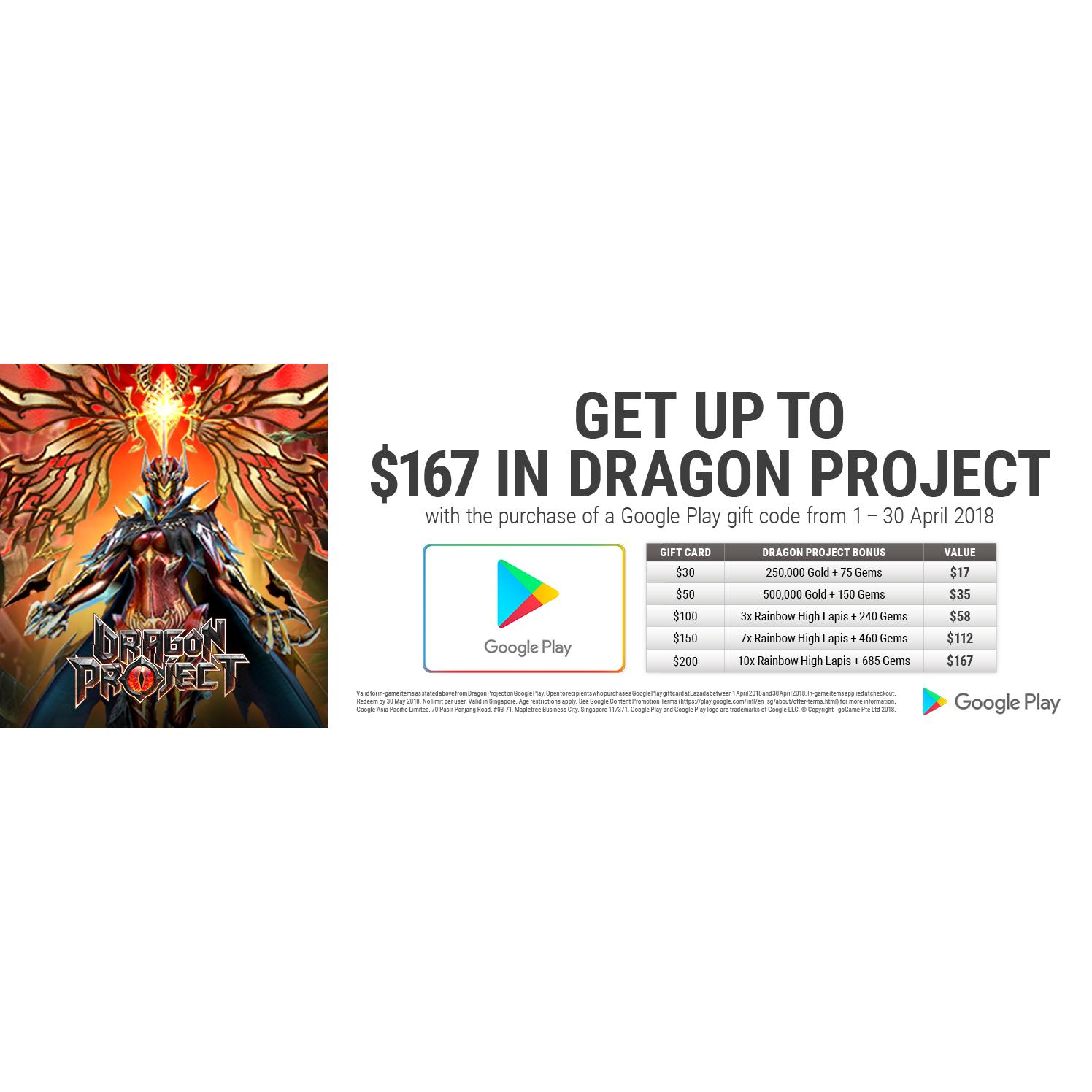 Google Play Gift Code SGD 30 [April Promotion Bonus - Get up to $167 in Dragon Project]