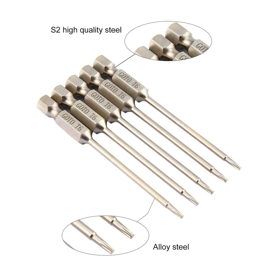 ANEXT GOTO 5Pcs Alloy Steel 75mm Long Φ3 Magnetic Torx Screwdriver Bit Hand Tools