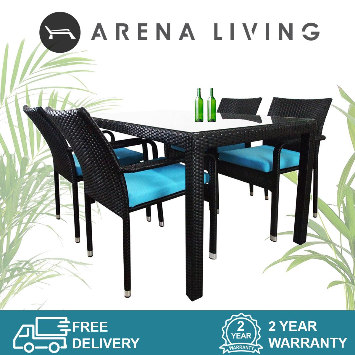 Boulevard 4 Chair Dining Set Blue Cushion, Outdoor Furniture by Arena Living™