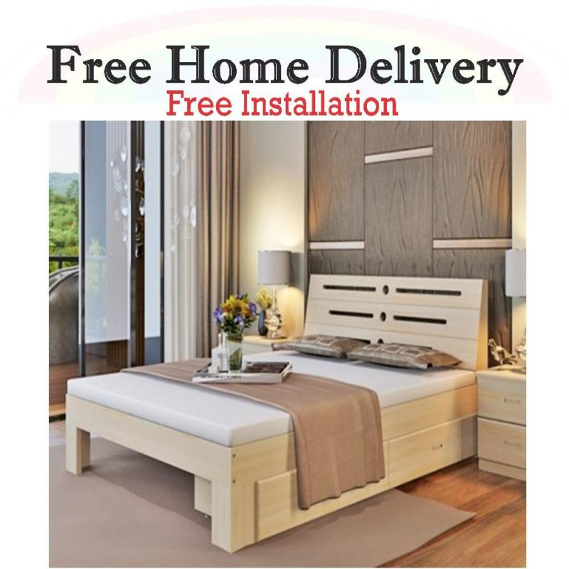 Wooden Queen Size Bed Frame with Storage