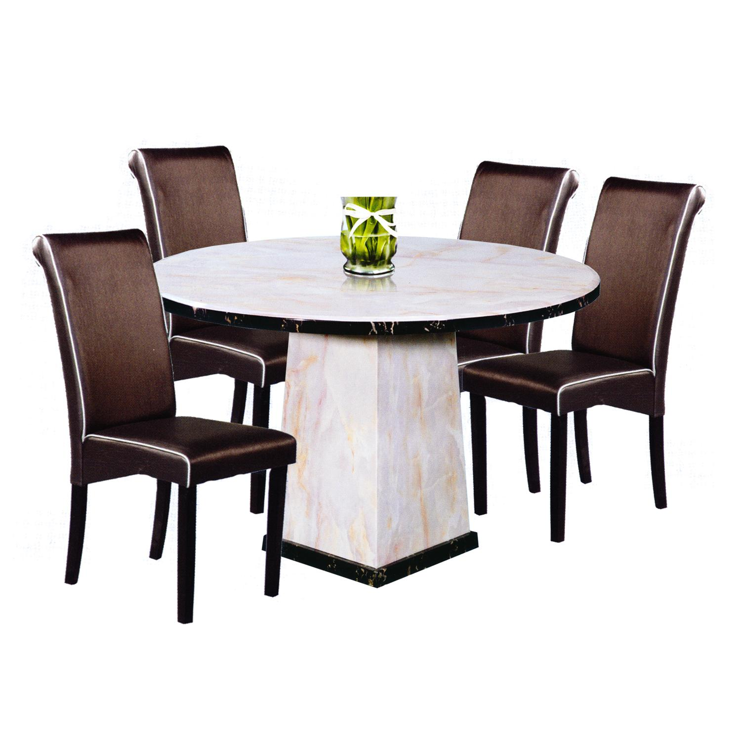 VIJAYA / FLANN Marble Top 1+6 Dining Set