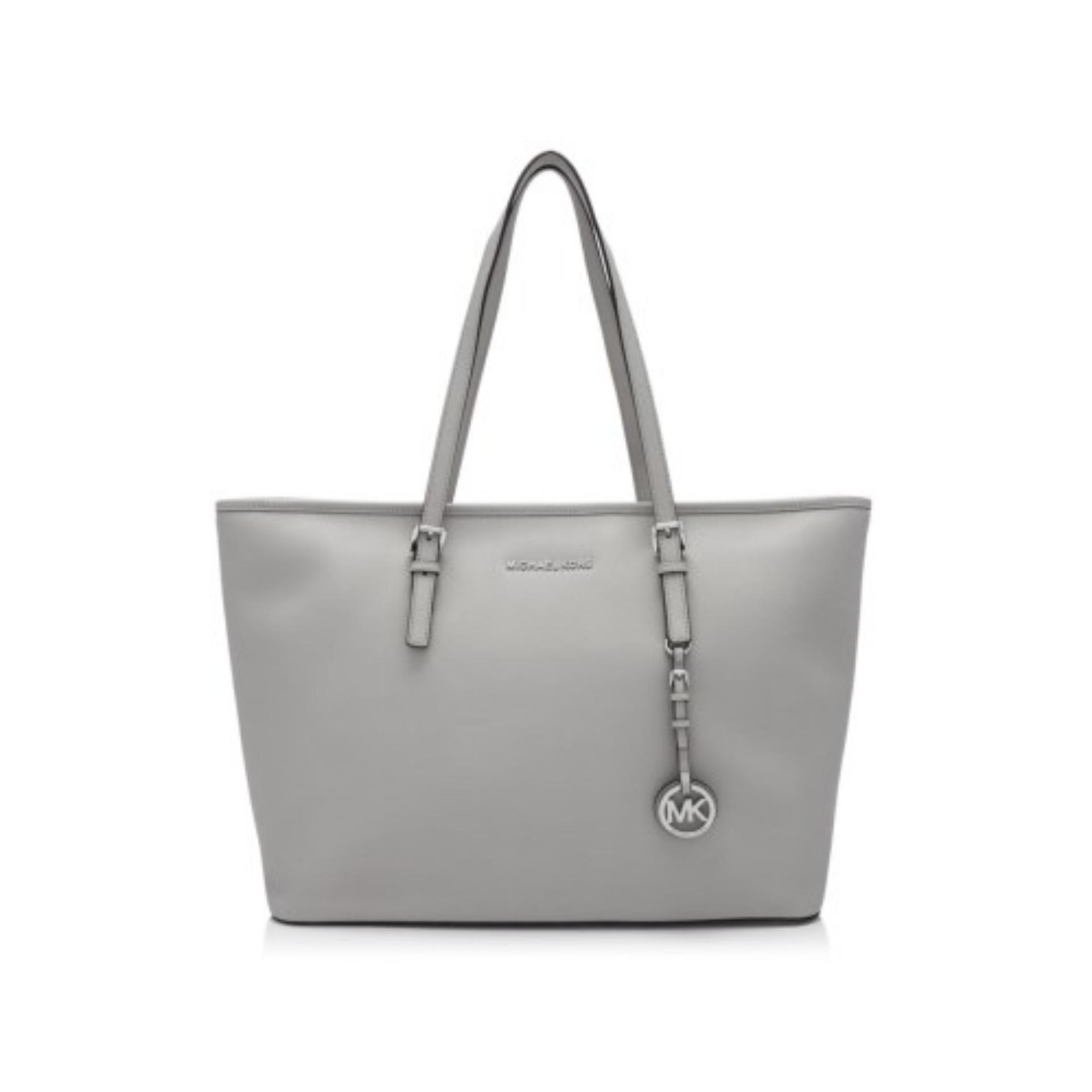 f01ca741707e Michael Kors Jet Set Travel Silver Tone Medium Top Zip Multi Functional Tote  Bag (Cement
