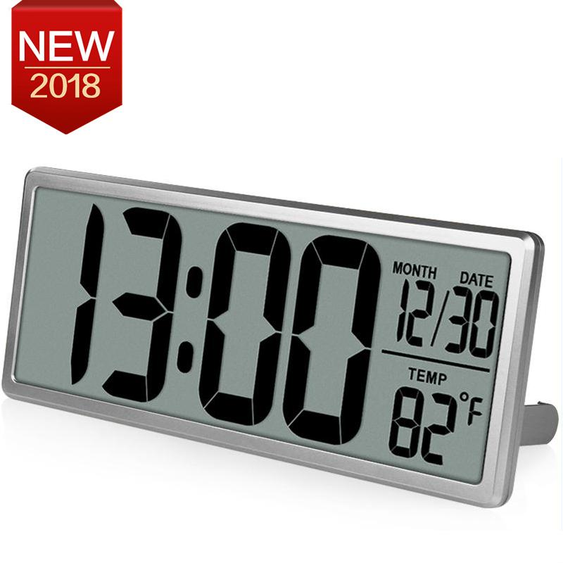 TXL Jumbo Digital Large LCD Screen Display Alarm Clock ,Wall Clock with Date/Time/Temperature Display,Battery Included,Silver - intl