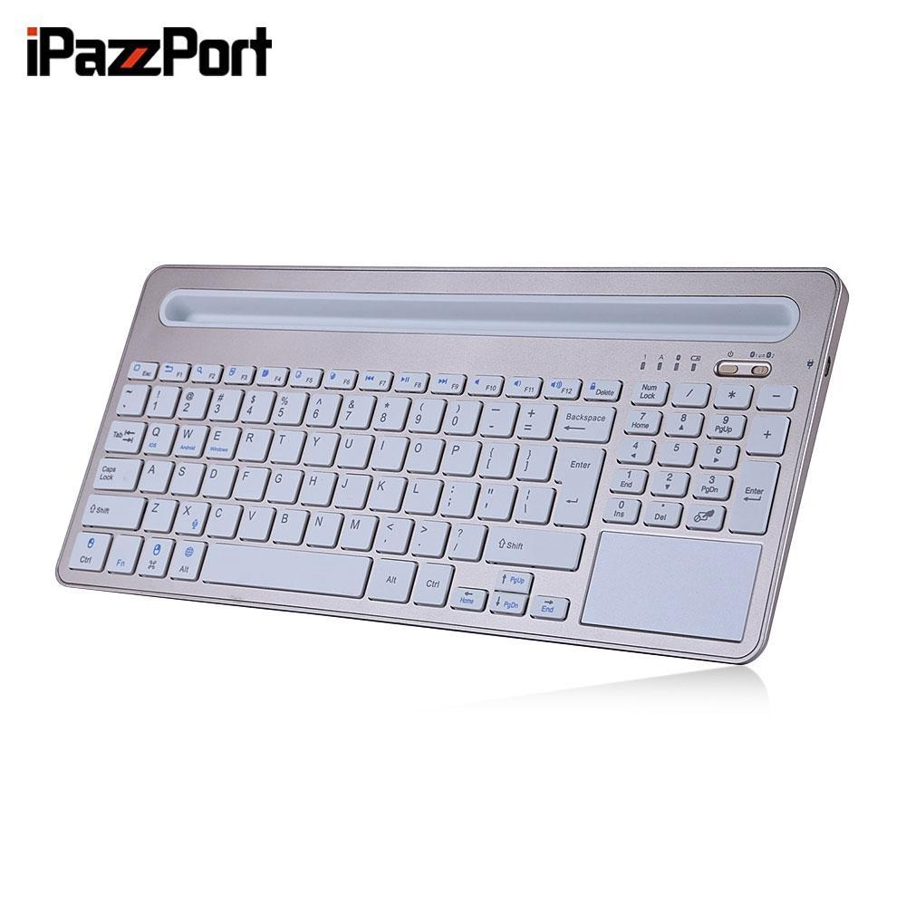 iPazzPort 85BT Wireless Keyboard BT3.0 Tablet Holder Ultra-slim Design 96 Keys for iOS Android Windows