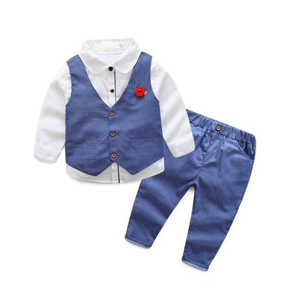 Spring Autumn Kids Boys Clothes 3Pcs White Shirt Vest Pants Handsome Gentleman Formal Suit Boys Birthday Party Clothing Sets Intl Free Shipping