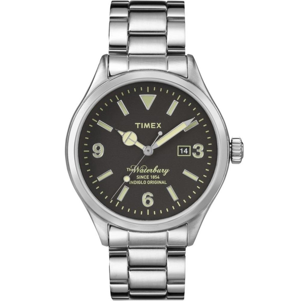 Compare Timex The Waterbury Silver Tone Stainless Steel Bracelet With Black Dial Tw2P75100