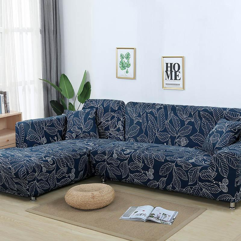 L shaped Sofa Cover Elastic Blue Sofa covers for living room Copridivano Couch cover Sofa slipcovers for armchairs 1-4-Seater