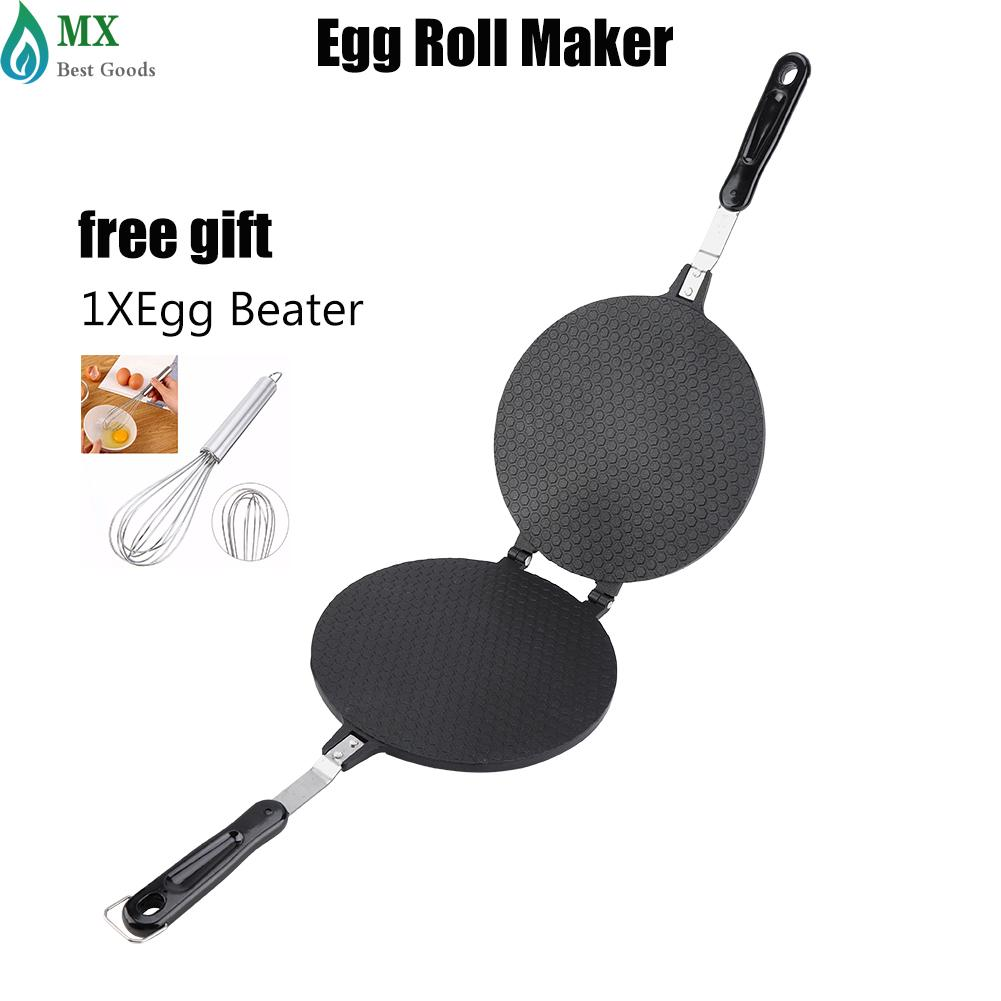[free Gift] Household Kitchen Gas Non-Stick Egg Roll Waffle Cone Maker Pan Mold Press Plate Baking Tool By Minxin.