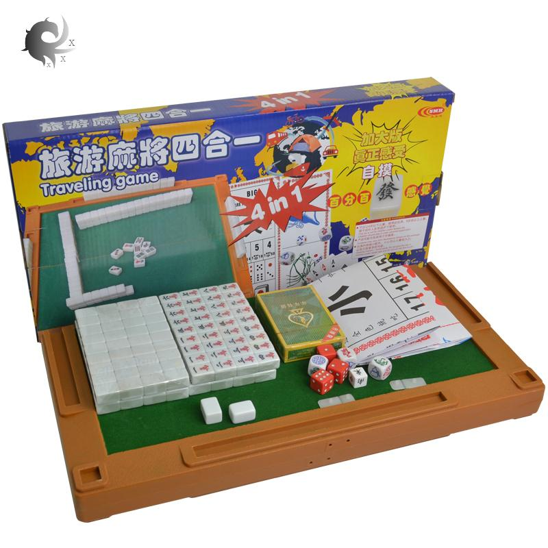 Mini Mahjong, 4 In 1 Set, Travel, Portable, Pocket Carved Mahjong Tiles, Childrens Educational Gifts, With Folding Table, Ergonomic Design, Durable, Workmanship (365*365mm) By Shanghaied.