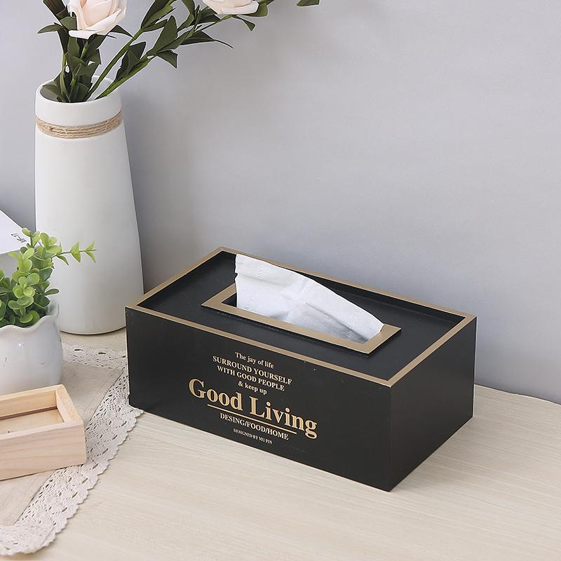 Household 58 Living Room Napkin Holder Tissue Box Simple Wood Car Mounted Tissue Box Creative INS Paper Extraction Box
