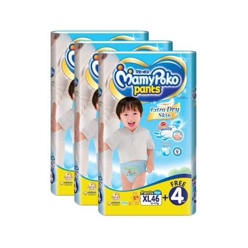 Shop For Mamypoko Pants Extra Dry Skin Boy Xl46 4 3 Pack