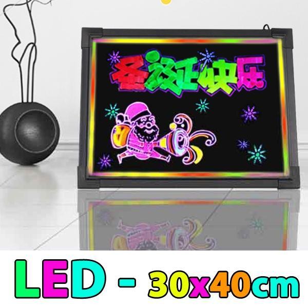 LED Fluorescent Advertising Message Writing Display Board Panel - 30x40cm