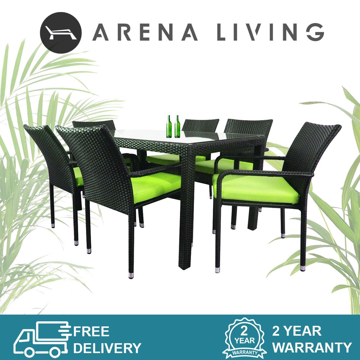 Boulevard 6 Chair Dining Set Green Cushion, Outdoor Furniture by Arena Living™