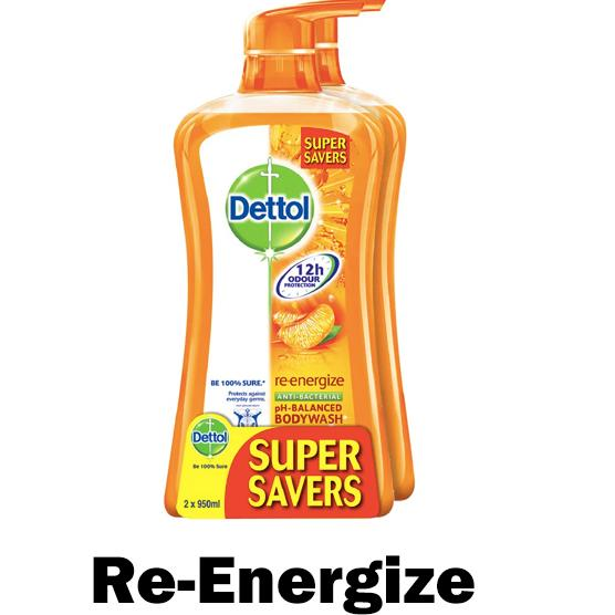Get Cheap Dettol 950Ml Body Wash Re Energize Anti Bacterial Ph Balanced Pack Of 2