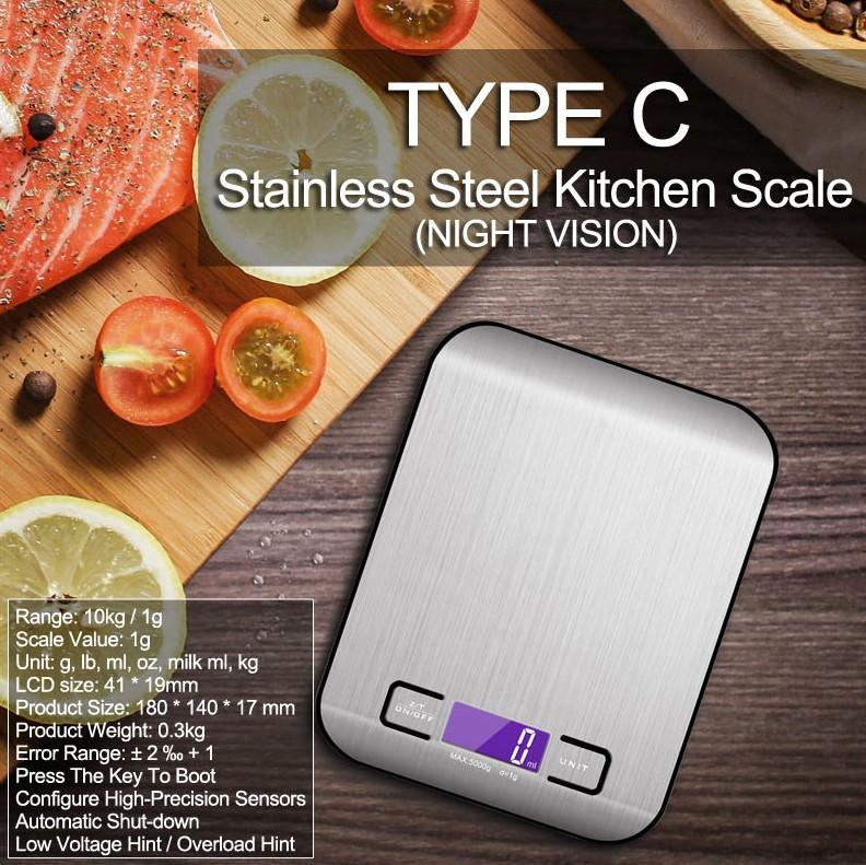 Buy Kitchen Weighing Scale Type C Silver Online Singapore