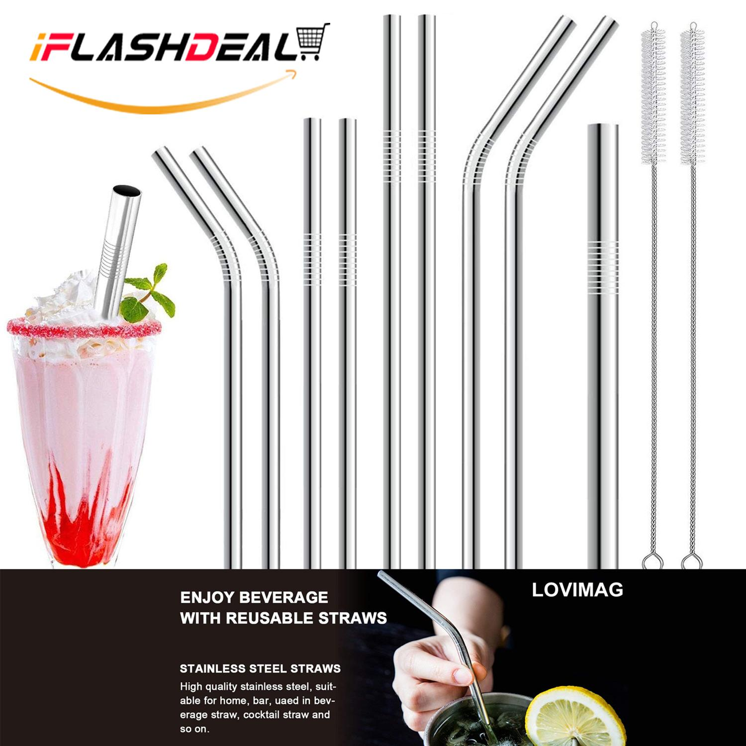Iflashdeal Stainless Steel Straws Reusable Metal Straw Set Drinking Straws 11pcs Set With 4.8inch Wide Straw 4 Straight 4 Bent By Iflashdeal.