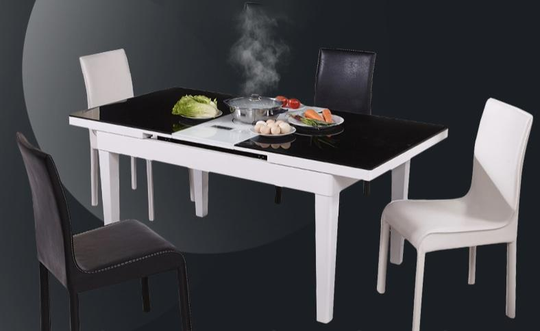JIJI (Free Installation) Memoir Extendable Steamboat Dining Table With Induction Panel - Black (Dining Table) (Free 12 Month Local Seller Warranty) (SG)