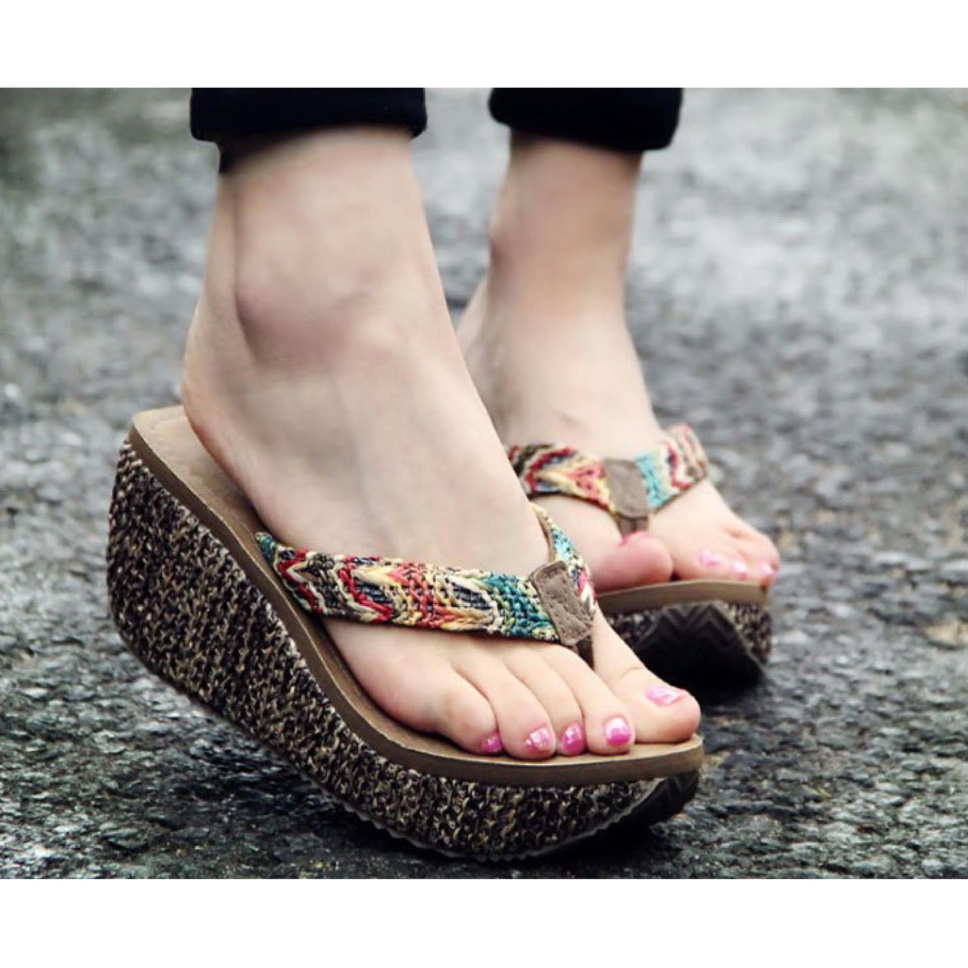 Women Summer Flip Flops Toe Clip Heel 7Cm Rafi Grass Weaving Wedged Sandals Size 35 39 Oem Discount