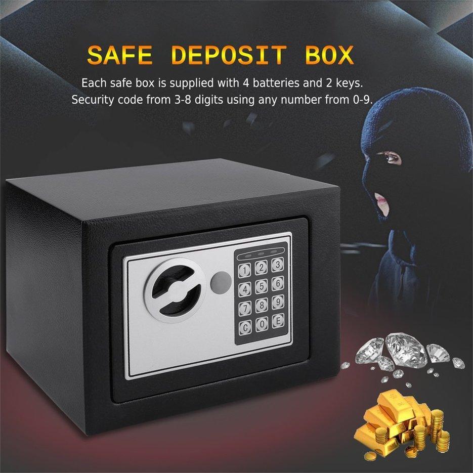 BELLE Electronic Safe Box With Digital Keypad Lock 4.6L Mini Jewelry Storage Case balck