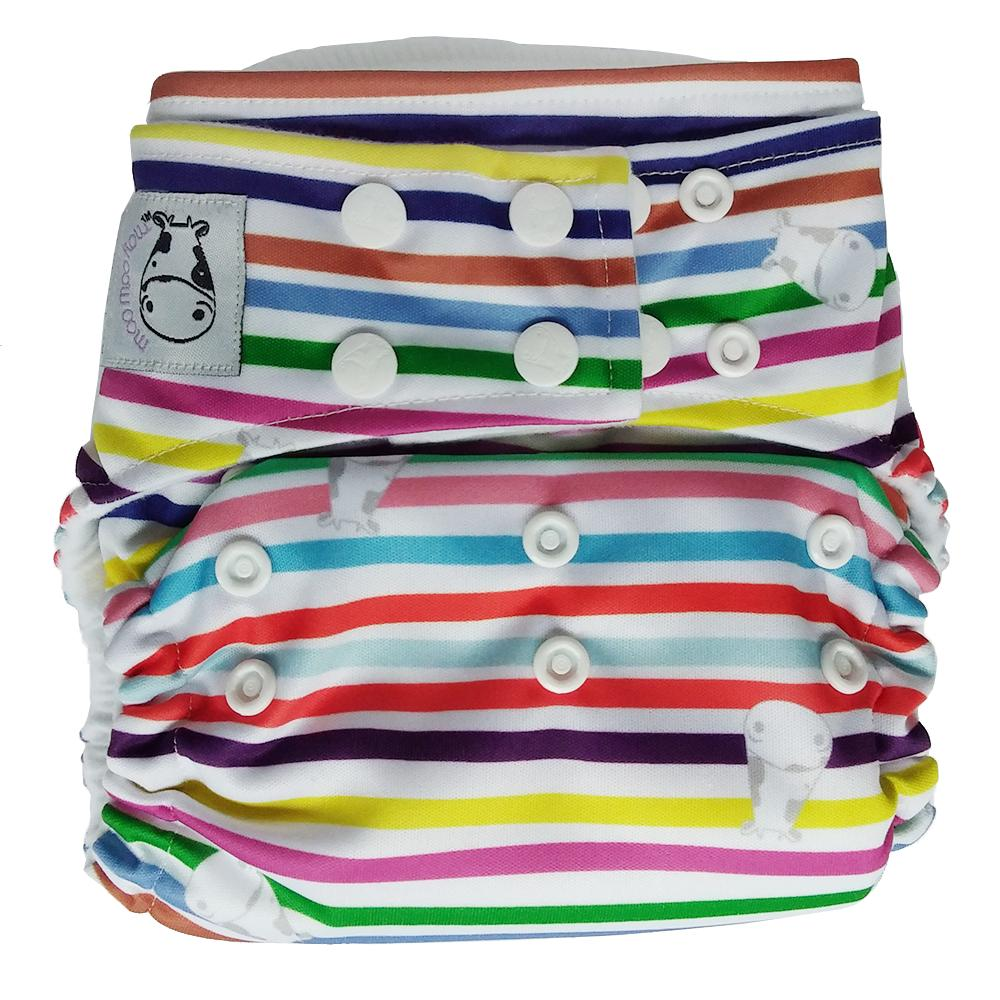 Moo Moo Kow Bamboo Cloth Diaper One Size Snap - Rainbow By Moo Moo Kow & Friends.