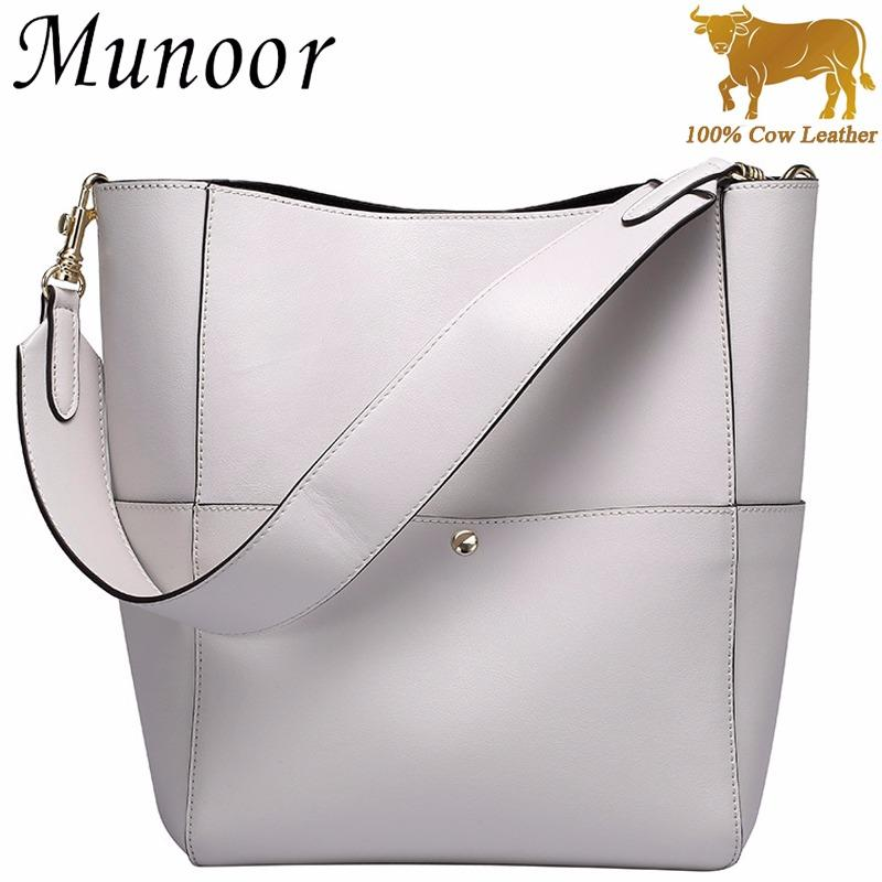 Price Munoor High Quality 100 Genuine Cow Leather Women Tote Bags Fashionable Handbags Shoulder Bag For Travel Munoor Original