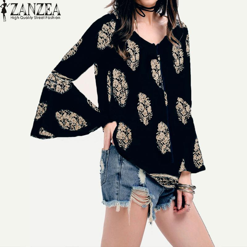 Compare Zanzea Womens Lace Up V Neck Shirt Oversized Boho Floral Print Flare Sleeve Casual Loose Blouse Tops Navy Intl