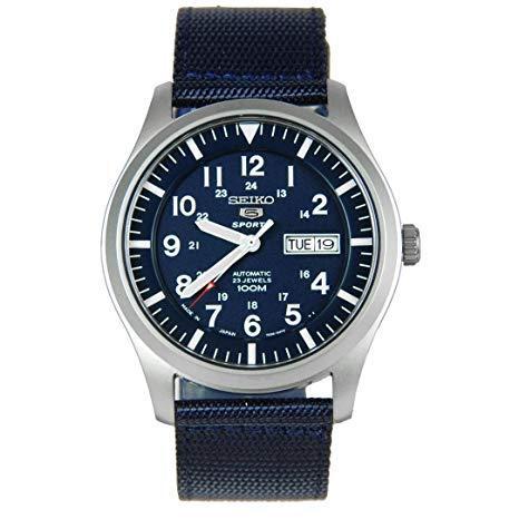 Seiko 5 Sports Automatic Navy Blue Leather Strap SNZG11J1 SNZG11J SNZG11 Men's Watch