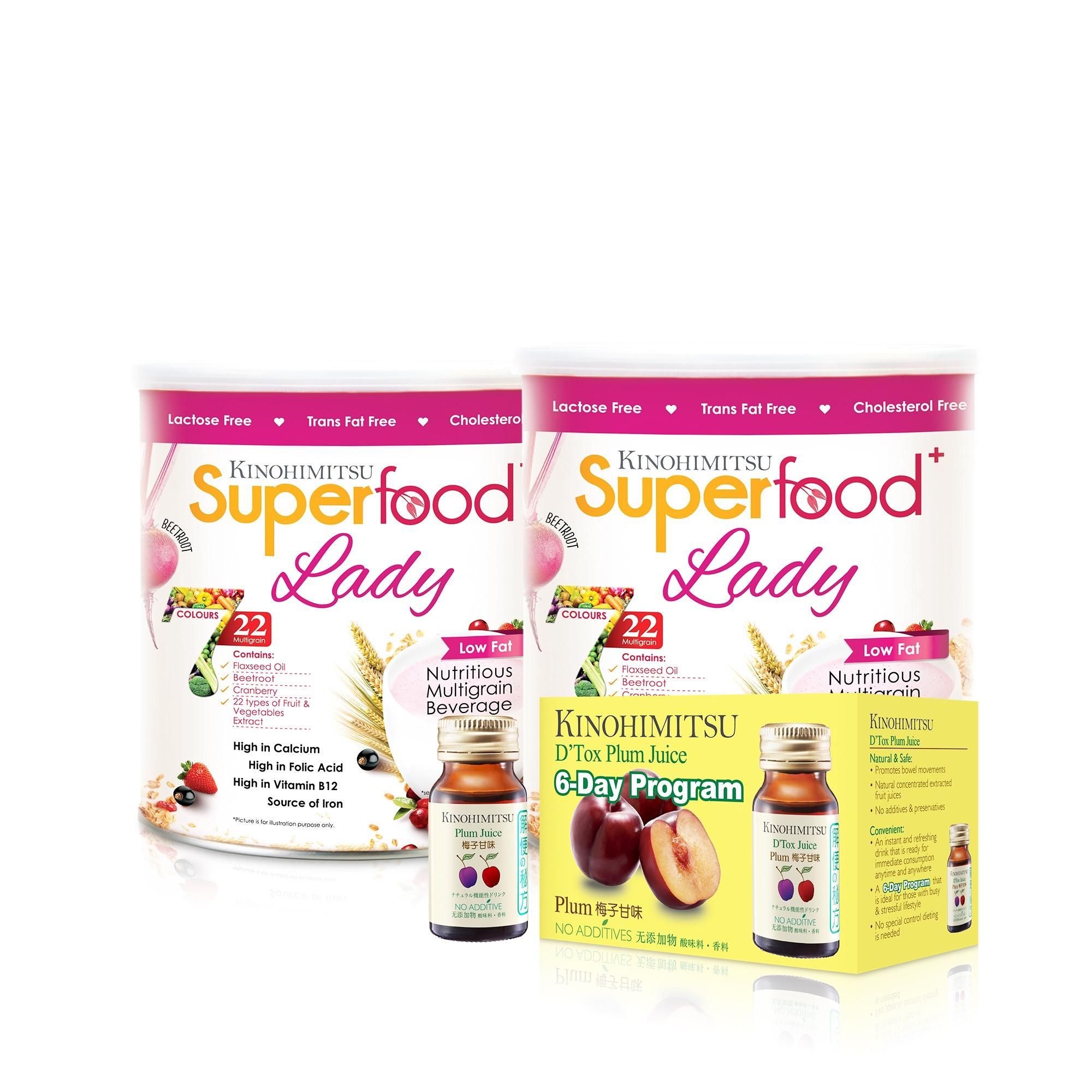 Kinohimitsu Superfood+ Lady 500g x 2 + Plum Juice 6's