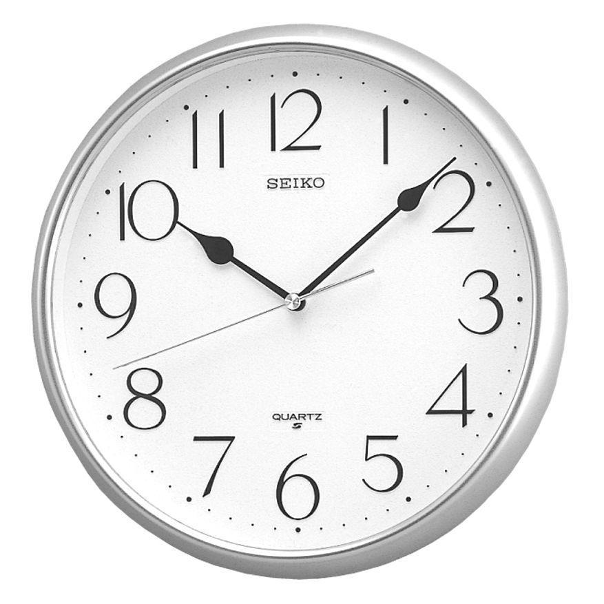 SEIKO QXA001S QXA001ST Analog Silver Color White Dial Wall Clock