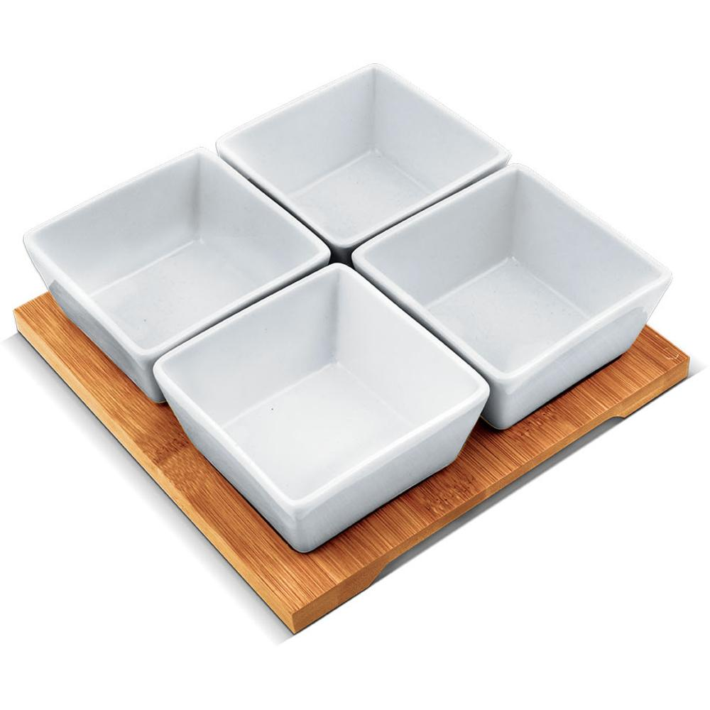 Serving Bowls 4 Pcs With Wooden Tray By I. T Station Pte Ltd.