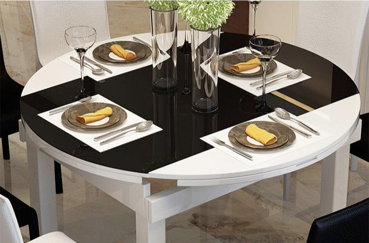 Jiji (free Installation) Rosalyn Extendable Dining Table (table Only) - Black (dining Table) - Tempered Glass Top/ Solid Wood Frame / Kitchen Dining Table / (free 12 Months Local Seller Warranty) (sg) By Jiji