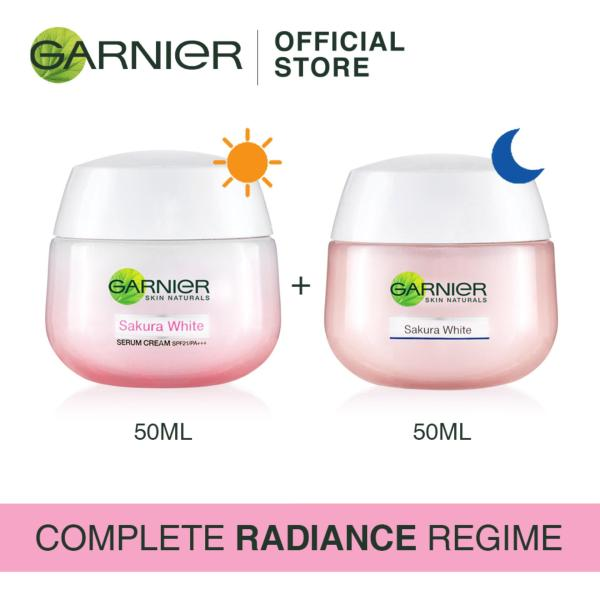 Buy [Complete Radiance Regime] Garnier Sakura Day Cream 50ml + Night Cream 50ml Singapore