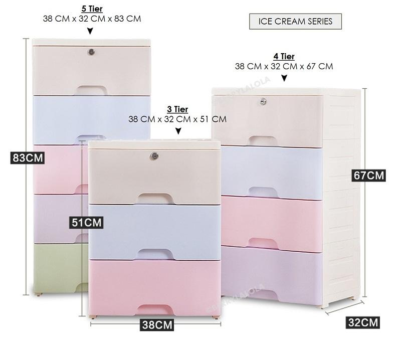 Macaron Series Ice Cream Series Plastic Drawers (Korea Living)