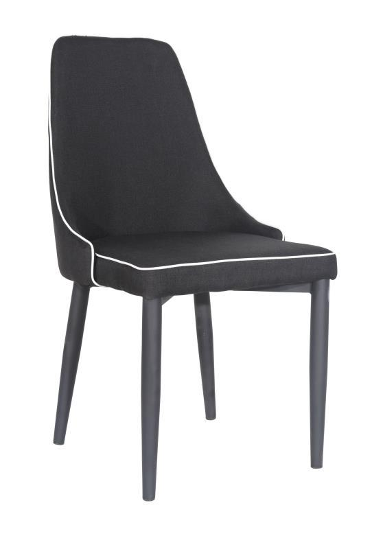 Black Fabric Low Back Dining Chairs