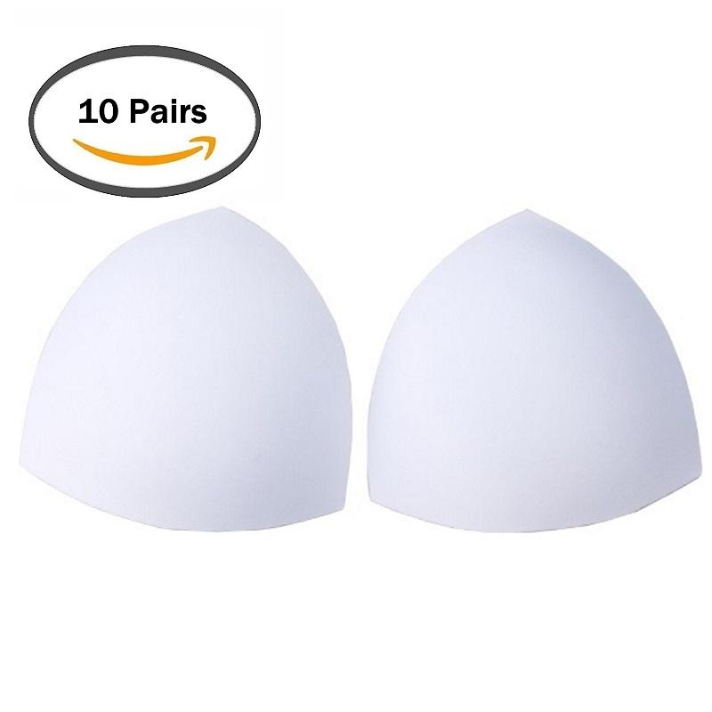10 Pairs Sponge Removable Triangle Breast Bra Pads Inserts Replacement For Swimsuit Bikini Strapless Dresses Sport Wear (random Color) By Shoponlinelah By Sol Home.