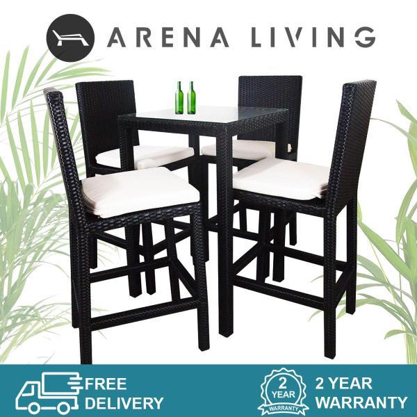 Arena Living Midas 4 Chair Bar Set White Cushion