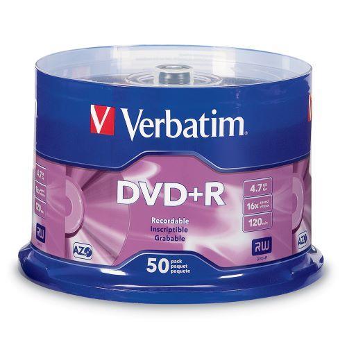 Verbatim DVD+R AZO 50pcs per cake box 4.7gb 16x 120min