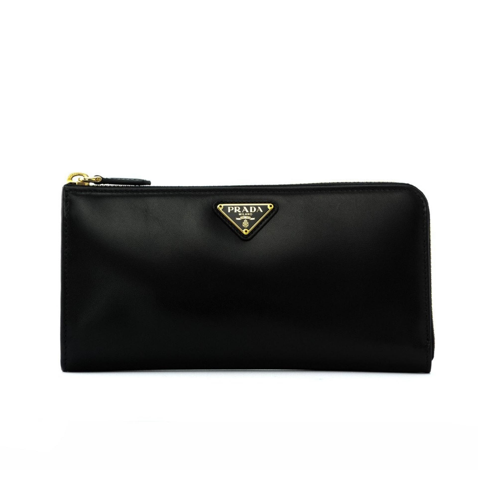 5346616840a671 Prada Saffiano Box Calf Half Zip Around Wallet (Nero/Fucco) # 1ML183309F0D9A