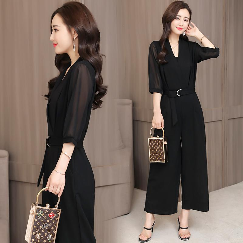 601eb971ef11 Spring And Summer New Style High-waisted Chiffon Romper Black Sleeve Slim  Fit Slimming Elegant